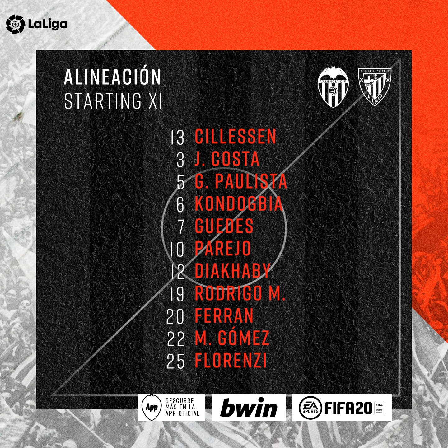 Alineaciones Valencia CF – Athletic Club