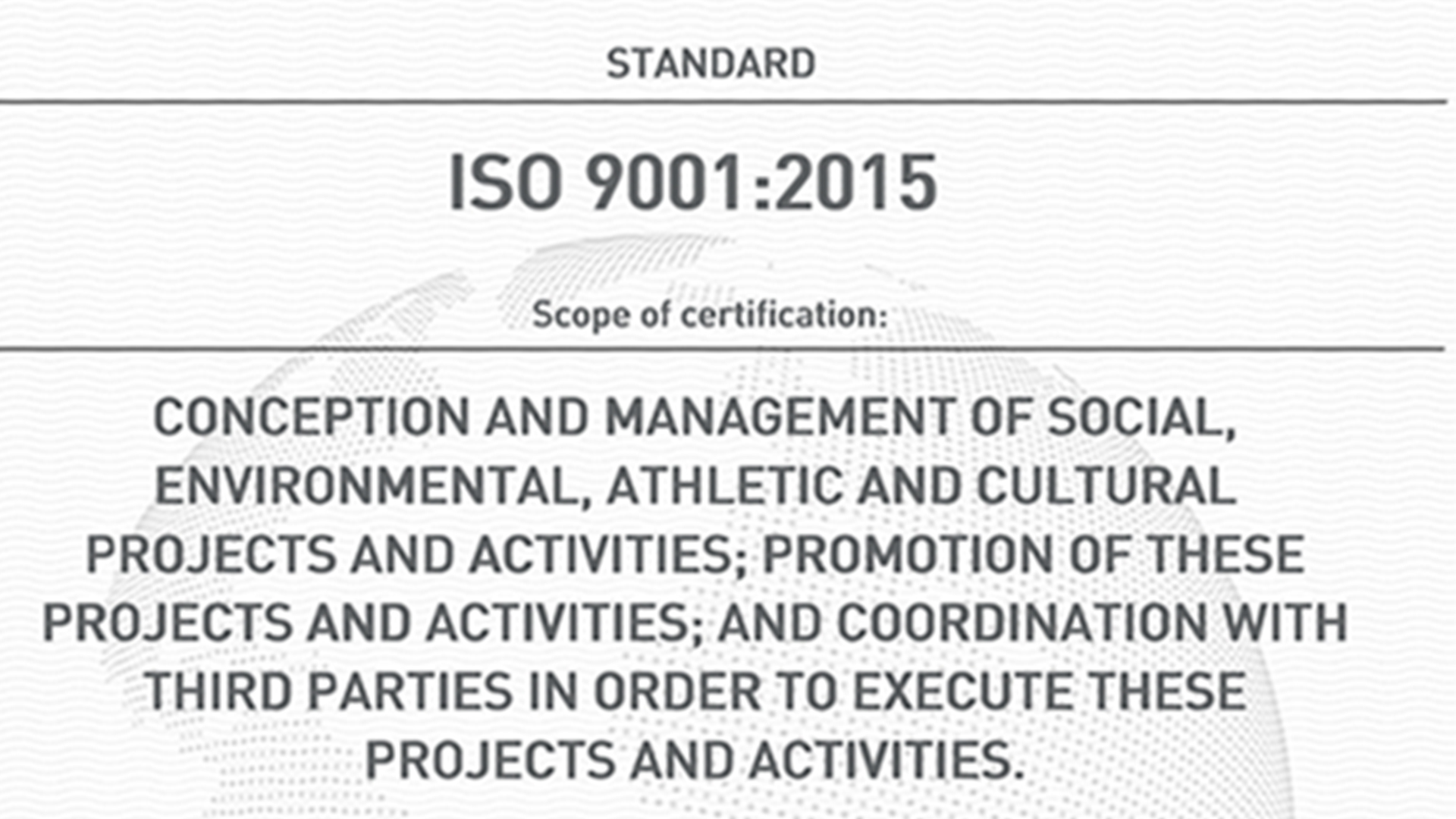 The Foundation is awarded ISO 9001